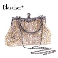 Blascher Women Clutch Bags Beaded Pearl Evening Bag Bridal Wedding Party Purse The Beaded Bag Manual Flash Light Women Bag SCA39