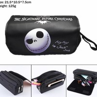 The Nightmare Before Christmas Jack Skellington Canvas Pencil Case Student pen bag Women Makeup Bag Cosmetic bag Stationery Bag