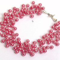 Pink Necklace.Bridesmaid Necklace. Wedding Necklace. Beadwork. Multistrand Necklace.