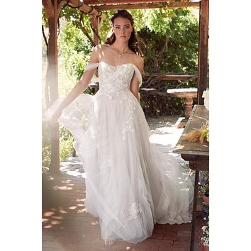 Willowby by Watters Maudie 54705 Romantic Off The Shoulder A-Line Lace and Tulle Wedding Dress
