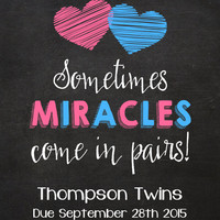 Twins Pregnancy Announcement // Sometimes miracles come in pairs // (14x11) - Custom pregnancy reveal // DIY edit with ADOBE READER