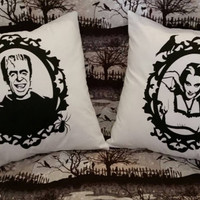 Munsters inspired Herman and Lily pillow covers