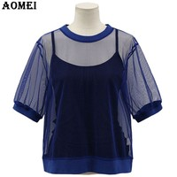 Blue Women Casual Blouse Summer Spring Hollow Out Shirt Chiffon Blouse For Lady Clothing Women Tops