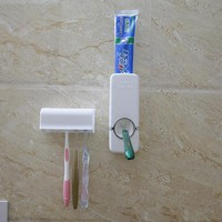 Hot Toothpaste Dispenser 5 Toothbrush Holder Set Wall Mount Stand Toothbrush Family Tools Accessories High Quality
