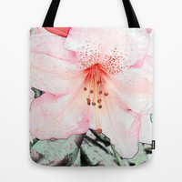 Pink rhododendron, azalea flower photo art. color pencil sketch style. Tote Bag by NatureMatters