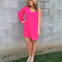 Blossom Me in Pink One Sleeve Dress