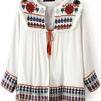 Long Sleeve Embroidered Drawsting Coat