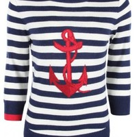 Joules Womens Navy Anchor Motif Stripe Knit - Joules from Psyche UK