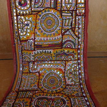 indian old patchwork wall hanging/home tapestry made from old textile  patchwork from dresses