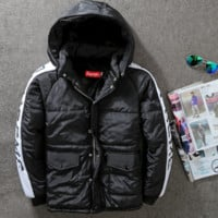 """""""SUPREME""""Splicing letter print With thick cotton-padded clothes winter jacket coat"""