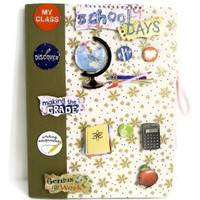Bucket List Journal  - Hard Cover Notebook  Backpack Ready (World Globe / Green / Blue / Yellow / 3D Embellishments)