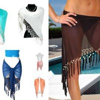 1 World Sarongs Womens Sheer Swimsuit Cover-Up Sarong in your choice of colors