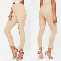 New Khaki Drawstring Lace-Up High Waisted Fashion Dacron Long Pants