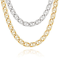 13mm Iced Out Necklace Miami Cuban link Chain Copper 3 Row Full Zircon Bling For Gold Color Necklace Mens Hip Hop Jewelry Gift  - jewelry fall 2021