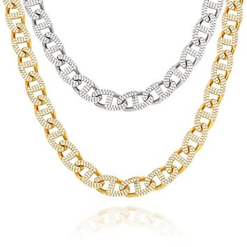 13mm Iced Out Necklace Miami Cuban link Chain Copper 3 Row Full Zircon Bling For Gold Color Necklace Mens Hip Hop Jewelry Gift