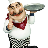 Polystone Chef With Plate A Restaurant Decor