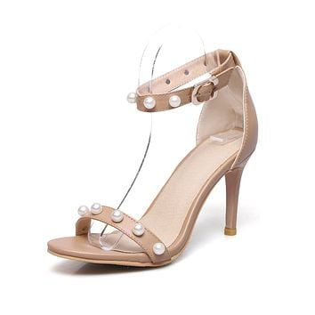 Pearls Buckle Ankle Strap Sandals High Heeled Shoes 3392