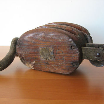 Vintage Industrial Pulley - Block and Tackle - Nautical - Ship - rustic decor