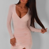Elysia Nude Wrap Dress | Pink Boutique
