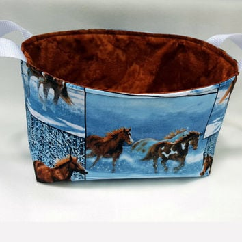 Wild Horses Fabric Grooming Caddy, Fabric Bin, Diaper Caddy, Fabric Basket, Eco-Friendly, Gift for Horse