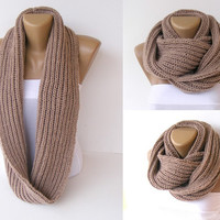 knitted infinity scarf  , knitted women scarves ,Block Infinity Scarf , Handmade knitted , Neck Warmer. LONG scarf, camel Crochet Infinity