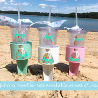 Beach Spikers and Personalized Tumblers Bridal party gift set, Beach cups, Bridesmaid dress decal, Gift for Bridesmaids