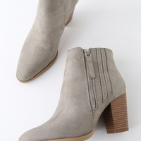 Kaytlyn Grey Suede High Heel Ankle Booties