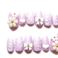 Sweater nails, matt nails, lilac nails, winter nails, bow, knit nail, Japanese 3D nail, nail art, pastel nails, fairy kei, Harajuku,