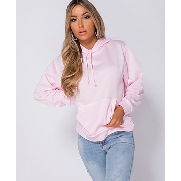 Pink Oversized Draw String Hooded Sweatshirt