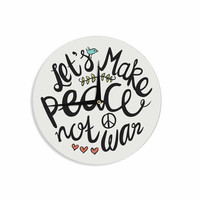 """Pom Graphic Design """"Peace Not War"""" Teal Black Typography Illustration Wall Clock"""