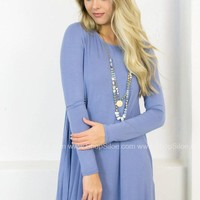 Long Sleeve Swing Dress with Pockets | Slate Blue
