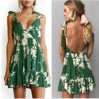 Fashion sexy women green leaf shoulder bow knot dress