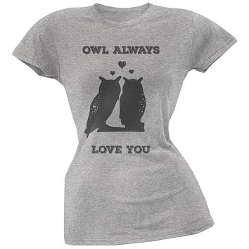 Valentine's Day - Paws - Owl Always Love You Heather Soft Juniors T-Shirt