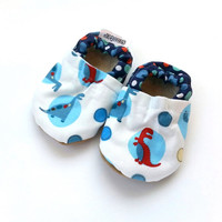 SALE - 6-12 mos dinosaur shoes baby boy dino shoes red and blue soft sole shoes for baby boy vegan shoes baby booties with dinosaur clothing