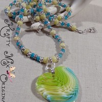 Soft Green and Blue Beautiful Necklace Set a Krafty Max Original