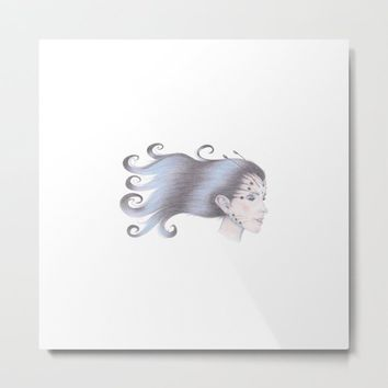 Wood Nymph Butterfly Girl Metal Print by drawingsbylam