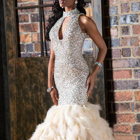 Jovani 22294 In Stock Size 4 Nude Sequin Feather Prom Pageant Engagement Dress