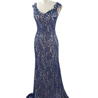 Beaded Sapphire Blue Lace over Champagne Satin Evening Gown