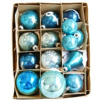Blue Midcentury Christmas Ornament, S/14