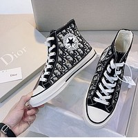 DIOR ¡Á CONVERSE woman Classic black and white Embroidered surround stitching shoes