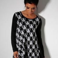 Cholete Black & Grey Dogtooth Drape Top | Pink Boutique