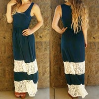 The sweetest thing lace maxi dress in Navy