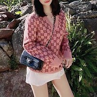 Gucci new pink full-body double G pattern casual sweater