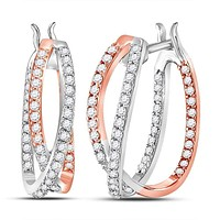 14kt Two-tone Gold Womens Round Diamond 2-Row Inside Out Hoop Earrings 1-2 Cttw