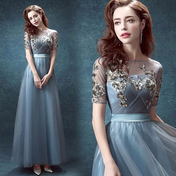 Blue perspective halter bride bridesmaid Dress perform wedding gown dress/ Wedding Dress/ Prom dress