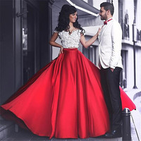 Two-Piece 2017 New Sexy Summer White Lace Red Satin Court Train A-Line Prom Dresses Long Evening Party Dress vestido de festa