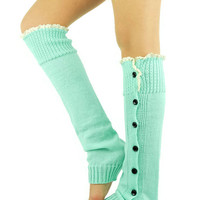 Mint Leg Warmers Knitted Socks Boot Toppers Womens Accessories lace trim socks button socks mint socks mint boot cuffs lace mint legwarmers
