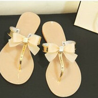 Bow Thong Jelly Shoes