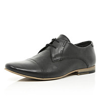 River Island MensBlack leather round toe formal shoes