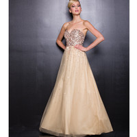 2013 Prom Dresses - Gold Sequin Prom Dress - Unique Vintage - Cocktail, Pinup, Holiday & Prom Dresses.